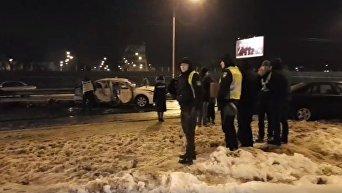 Подрыв иномарки на выезде из Киева. Видео