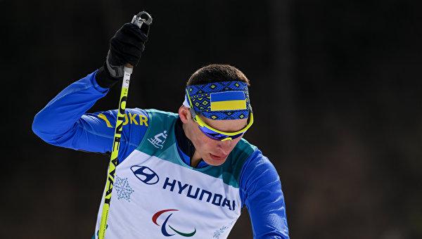 Игорь Рептюх (Украина) на дистанции на 20 км среди мужчин в соревнованиях по лыжным гонкам на XII зимних Паралимпийских играх в Пхенчхане