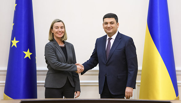 Глава МИД ЕС Федерика Могерини и премьер-министр Владимир Гройсман