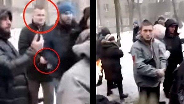 Юрий Левченко зажигает коктейль Молотова
