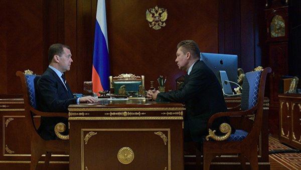Премьер-министр РФ Д. Медведев встретился с главой Газпрома А. Миллером