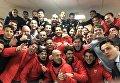 Игроки Севильи после победы над Манчестером Юнайтед