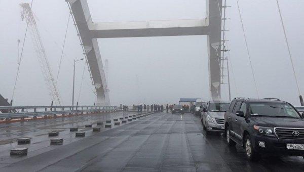 Визит президента России Владимира Путина на Крымский мост