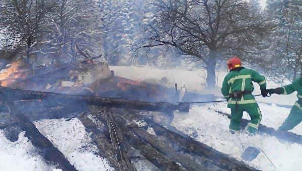 На месте пожара в Ивано-Франковской области