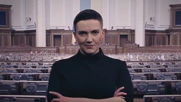 Надежда Савченко на фоне зала Верховной Рады