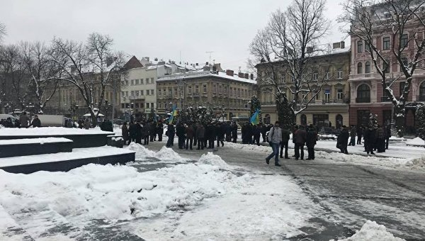Акция пенсионеров МВД в центре Львова, 21 марта 2018