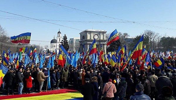 Митинг сторонников объединения Молдавии и Румынии в Кишеневе. Архивное фото