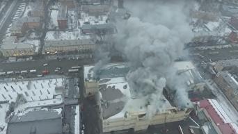 Масштабный пожар в российском ТЦ: кадры с беспилотника