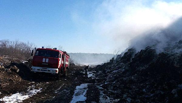 Пожар на свалке бытовых отходов в Полтавской области