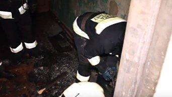 Пожар в общежитии Днепра. Видео