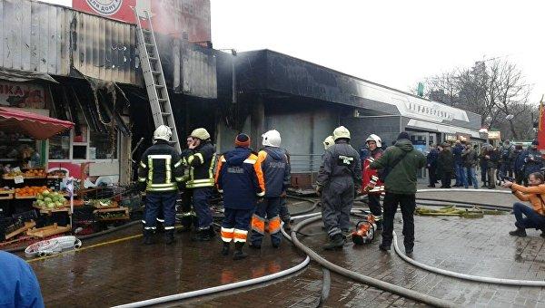 ВКиеве пожар около станции метро Левобережная