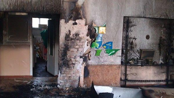 Последствия пожара в детском саду в городе Часов Яр Донецкой области