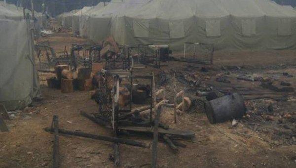 Пожар в палаточном городке воинской части в Черниговской области, 29 марта 2018