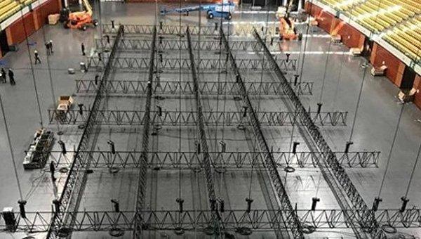 ВЛиссабоне вAltice Arena начали монтаж сцены Евровидения
