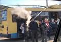 В Черновцах загорелся троллейбус. Видео