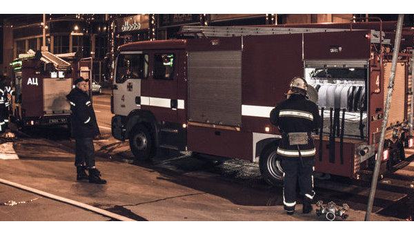 Пожар в деревянном храме в центре Киева