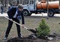 Депутаты под ВР садят деревья