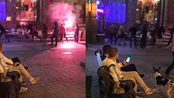 Появились кадры массовой драки возле кафе в центре Киева. Видео