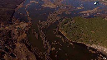 Под Харьковом река вышла из берегов. Кадры с высоты птичьего полета