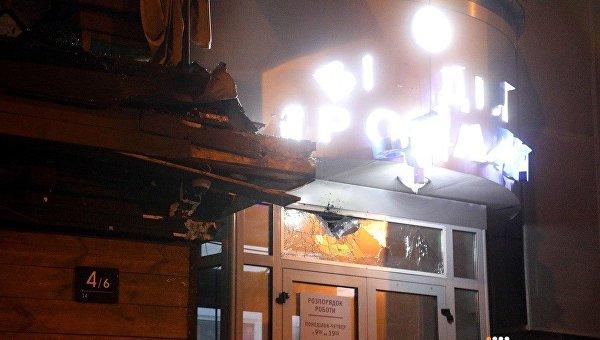 Последствия обстрела здания Киевгорстроя