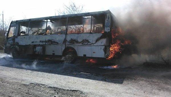 Под Винницей дотла сгорел пассажирский автобус