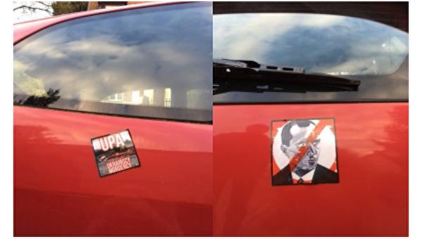 Автомобиль украинцев в Польше украсили наклейками с Бандерой и против УПА