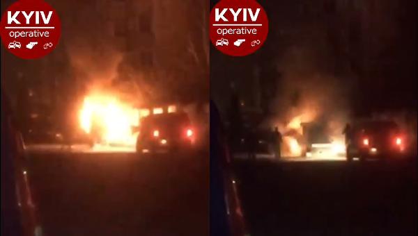 Пожар в автокофейне в Вишневом под Киевом