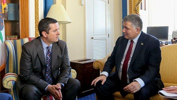 Глава Комитета по разведке, конгрессмен США Девин Нуньес и министр внутренних дел Украины Арсен Аваков