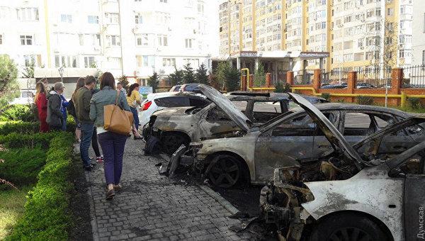 Сгоревшие автомобили в Одессе
