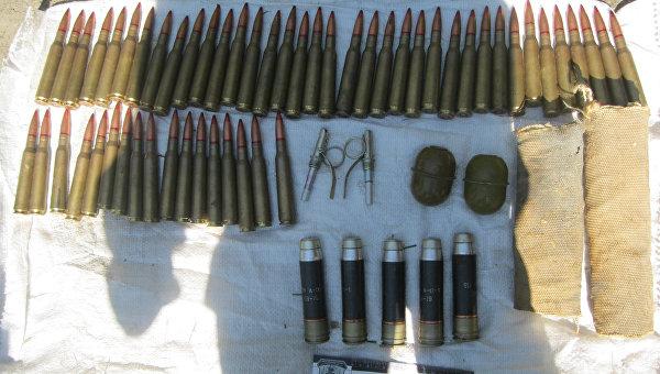 Содержимое тайника с боеприпасами