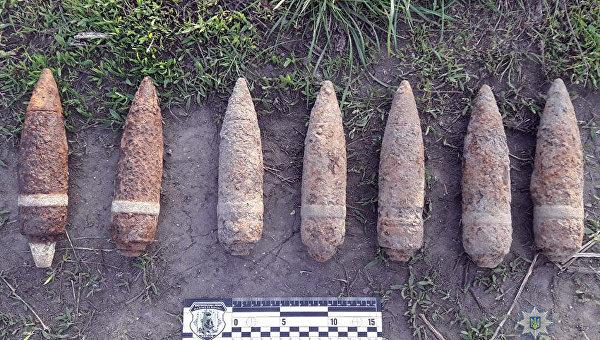 Боевые снаряды времен Второй мировой войны, изъятые в Хмельницкой области