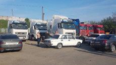 Блокирование российских фур украинскими дальнобойщиками под Одессой