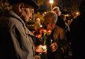 Возложение цветов к Мемориальному кургану Героям Чернобыля и в Киеве в ночь на 26 апреля