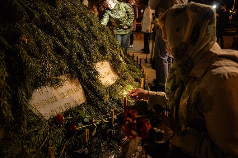 Акция памяти у Мемориального кургана Героям Чернобыля в Киеве