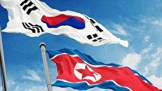 Флаги Южной Кореи и КНДР
