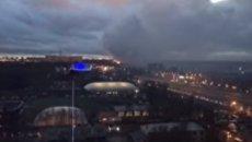 Пожар на территории завода в Подмосковье. Видео