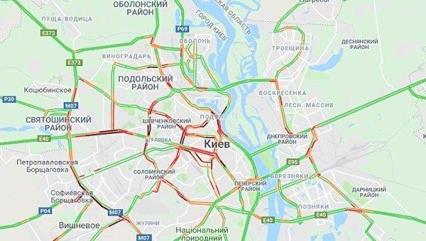 Пробки сковали Киев