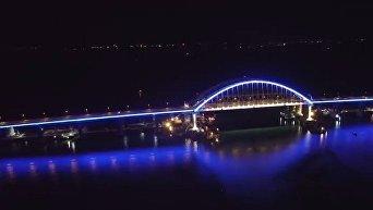 Включение подсветки на Крымском мосту