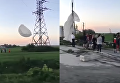 В Ивано-Франковской области парашютист завис на опоре ЛЭП. Видео