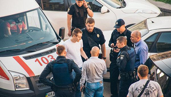На месте избиения Найема в Киеве