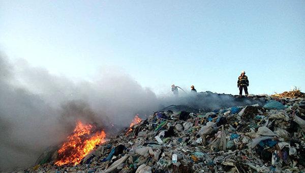 Пожар на полтавской городской свалке