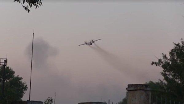 Пожар в Балаклее. Работа авиации ГСЧС