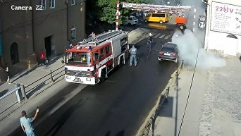 Авто загорелось на светофоре в Берегово (Закарпатье)