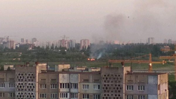 Пожар в садах на Виноградаре в Киеве