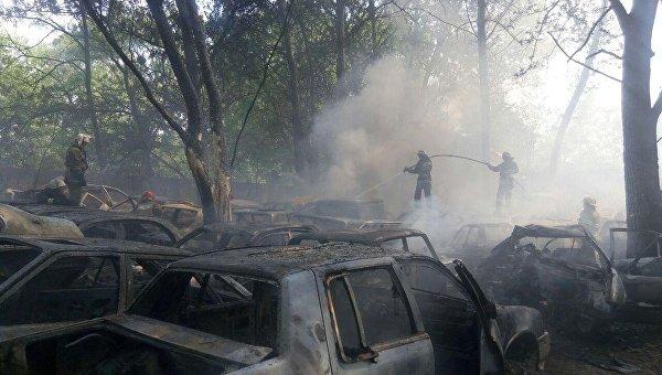 На месте пожара в Киеве