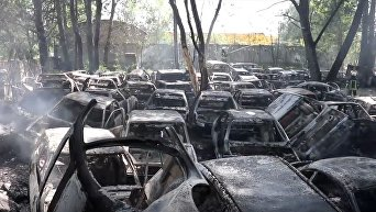 Пожар на стоянке в Киеве