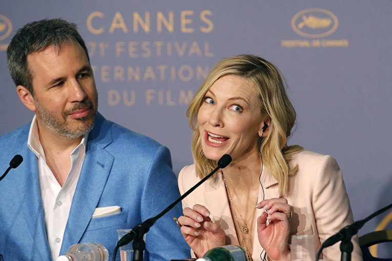 Глава жюри Каннского фестиваля Кейт Бланшет и актер, член жюри Дени Вильнев