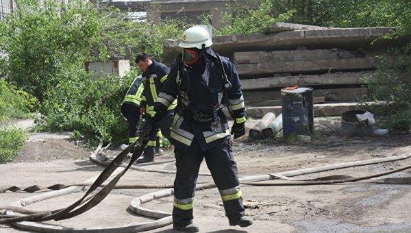 Работа пожарных ГУ ГСЧС Украины в Запорожской области