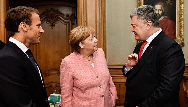 Трехсторонние переговоры президента Петра Порошенко с канцлером ФРГ Ангелой Меркель и президентом Франции Эммануэлем Макроном