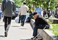 Мужчина просит милостыню в центре Киева